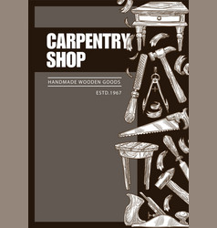 carpentry shop handmade wooden goods woodwork vector image