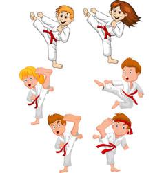 Cartoon little kid training karate collection vector