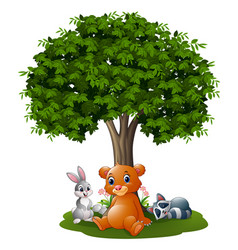 cartoon wild animals under the tree vector image