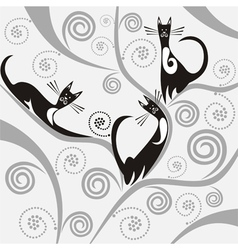 Cats on the tree vector image
