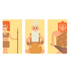 Caveman primitive stone age cards cartoon vector