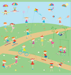 Cheerful kids playing on playground on summer vector