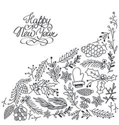 christmas celebrating floral sketch background vector image