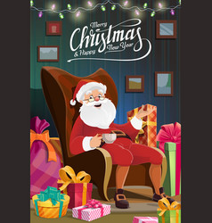 Christmas santa sit in chair new year holiday vector