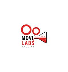 Cinematography camera laboratory logo design vector