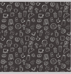 coffee shop seamless pattern background set vector image