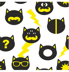 creative seamless background with fantastic cats vector image