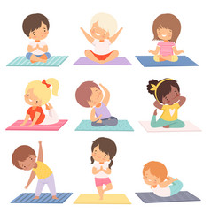 Cute boys and girls practicing yoga exercises vector