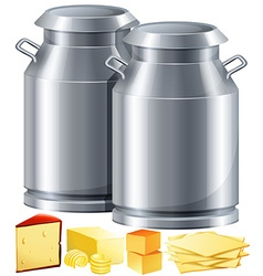 Dairy products with milk and cheese vector