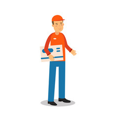 Delivery service worker standing and holding big vector