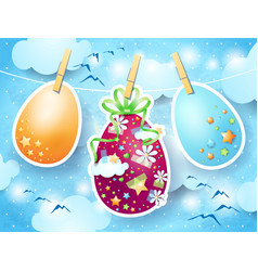 easter eggs on sky background vector image