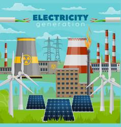 electric power plants wind turbine solar energy vector image