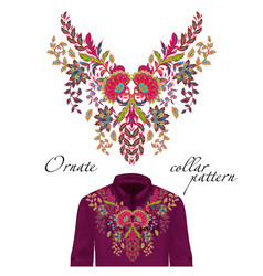 Embroidery ethnic flowers neck pattern vector