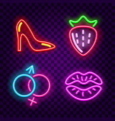 erotic neon signs on dark background vector image