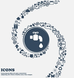 faucet icon in the center Around the many vector image