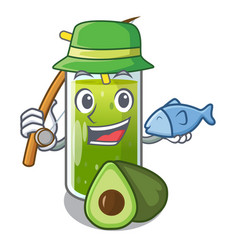 Fishing avocado smoothies are isolated on vector