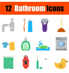 Flat design bathroom icon set vector image