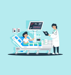 flat young woman doctor with tablet and patient vector image