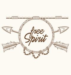 free spirit arrows rustic emblem boho vector image