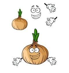 Fun cartoon brown onion vegetable vector image