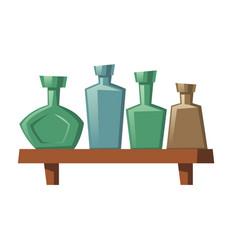 glass bottles various shapes vodka rum whiskey vector image