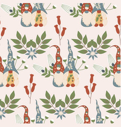 gnomes and flowers in a seamless pattern design vector image