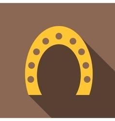 Gold horseshoe icon flat style vector image