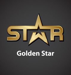 golden star inscription icon vector image