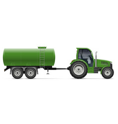 Green tractor with agricultural tank side view vector