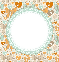 Greeting Card pattern with bows and hearts vector image