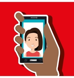 hand holding smartphone person woman vector image