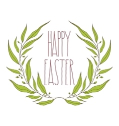 Happy Easter greeting card with floral decorative vector