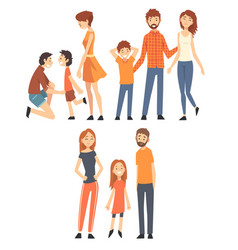 happy family with children set smiling mothers vector image