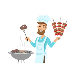 happy man in chef hat grilling meat on gill vector image