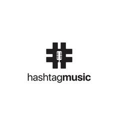 hashtag music logo design concept vector image