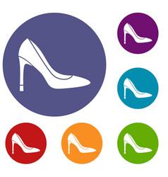 High heel shoe icons set vector