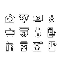 home smart devices icon set thin line style vector image
