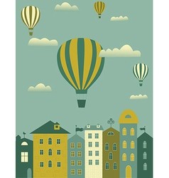 Hot air balloon over the town vector