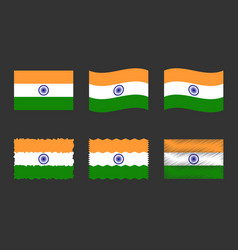 india flag set official colors and proportion of vector image