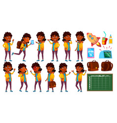Indian girl set primary school child vector
