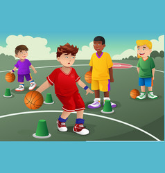 kids in basketball practice vector image