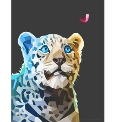 Low poly portrait of a leopard eps 10 vector
