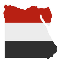 Map of egypt in egyptian flag colors icon isolated vector
