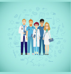medicine team concept with different doctors vector image