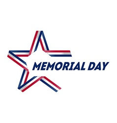 Memorial day star made ribbon in national flag vector