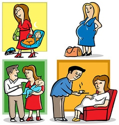 Mother in pregnant and a baby vector image