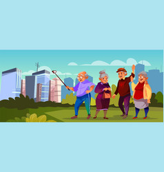 Old people with selfie stick pensioners vector