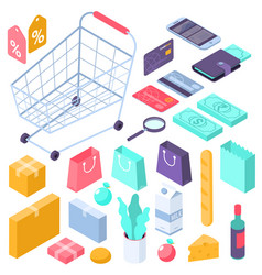 online mobile shopping isometric interface icons vector image