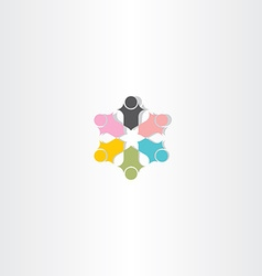 people in circle color logotype element vector image