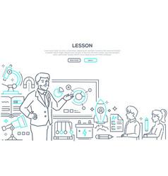 physics lesson - modern line design style banner vector image